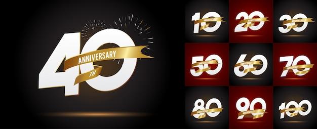 周年記念エンブレム、周年記念テンプレートのセット Premiumベクター