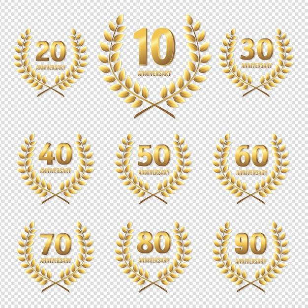 Набор юбилейной золотой значок прозрачного фона Premium векторы