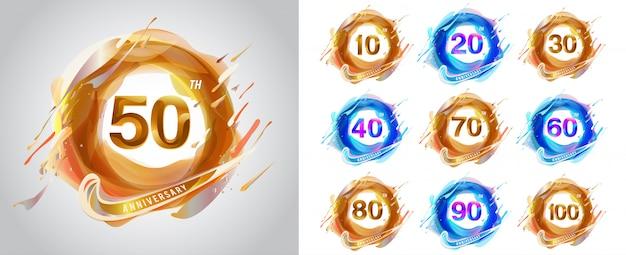 Набор годовщины логотипа, дизайн шаблона годовщины для веб-сайтов, игры, креативный плакат, буклет, листовка, флаер, журнал, пригласительный билет - вектор Premium векторы