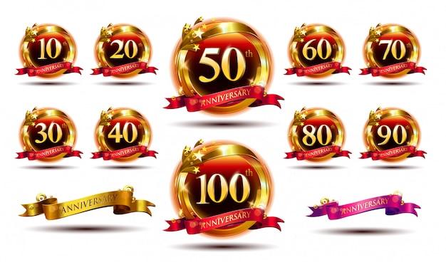 Набор логотипа годовщины и красной лентой. дизайн эмблемы празднования золотой годовщины Premium векторы