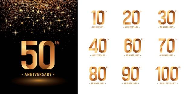 Набор дизайн логотипа юбилей, логотип праздновать юбилей Premium векторы