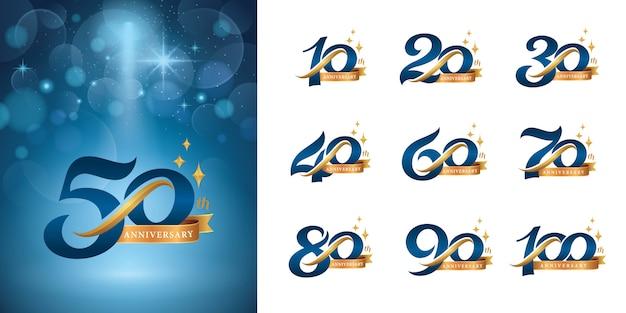Набор дизайна логотипа anniversary, элегантный классический логотип, винтажные и ретро буквы с засечками Premium векторы