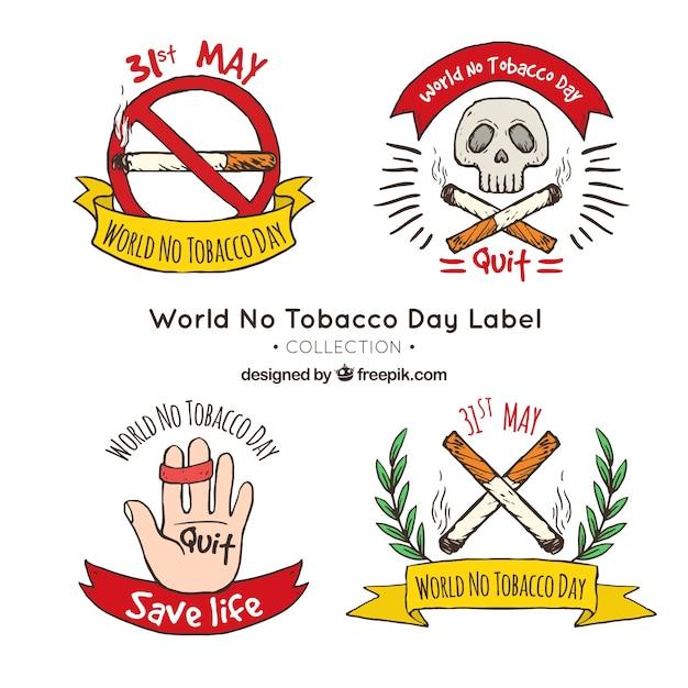 Set of anti-smoking hand-drawn stickers Free Vector