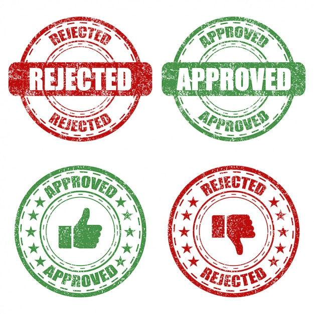承認および却下された白い背景の上のゴム印のセット Premiumベクター