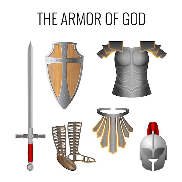 白で隔離の神の鎧の要素のセット。精神の長い剣、息抜き、準備のサンダル、真実の帯、準備の木製の信仰の盾、救いの鎧のヘルメット。 Premiumベクター