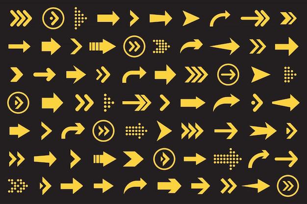 웹 사이트 디자인을위한 검은 색 바탕에 주황색 화살표 컬렉션 집합 프리미엄 벡터