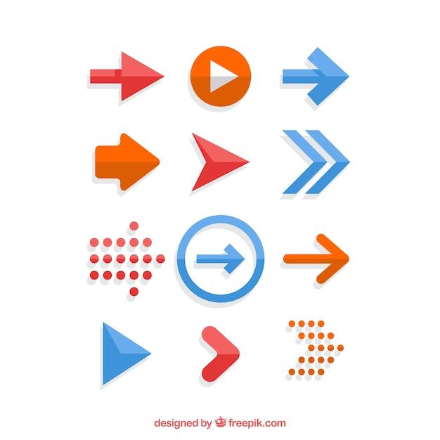평면 디자인에 화살표의 집합 프리미엄 벡터