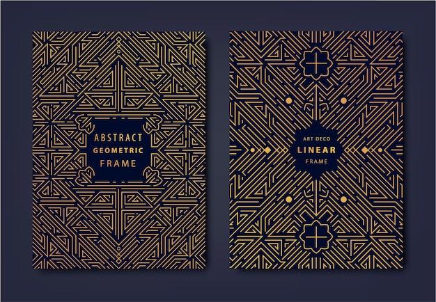 アールデコゴールデンカバーのセットクリエイティブなデザインテンプレートトレンディなグラフィックポスターギャツビーパンフレットデザインパッケージングとブランディング幾何学的形状装飾要素 Premiumベクター