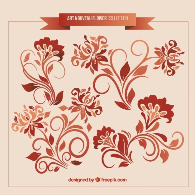 set of art nouveau floral decoration vector free download. Black Bedroom Furniture Sets. Home Design Ideas