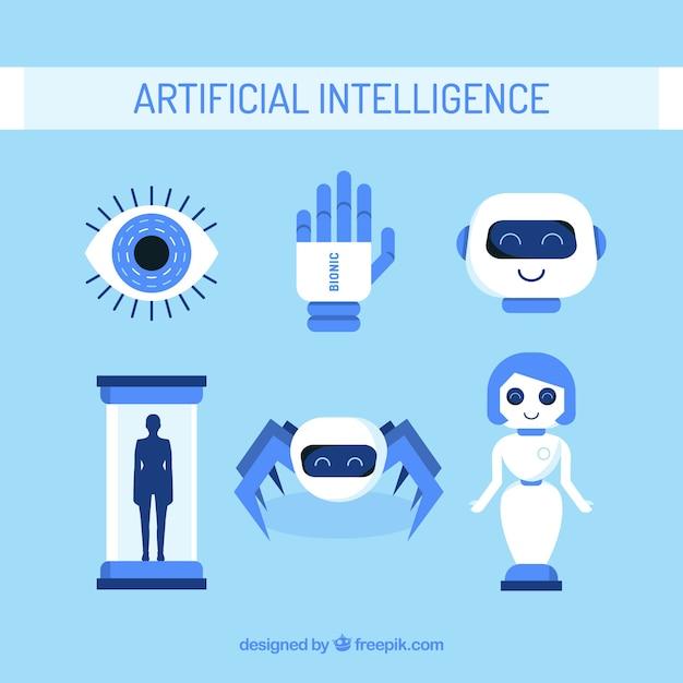 Набор элементов искусственного интеллекта в плоском дизайне Premium векторы