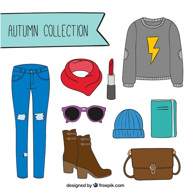 Set of autumn clothes with accessories Vector | Free Download