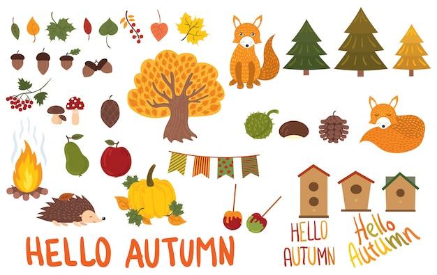 秋の要素のセットです。秋の動植物のコレクション。 Premiumベクター