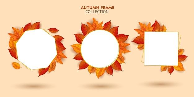 秋のフレームコレクションのセット Premiumベクター