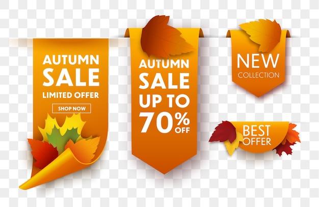Набор осенних продаж тегов с осенними листьями. продажа баннеров. Premium векторы