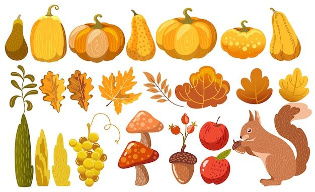 秋のテーマの要素のセット Premiumベクター