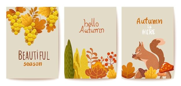 秋の主題カードのセット Premiumベクター