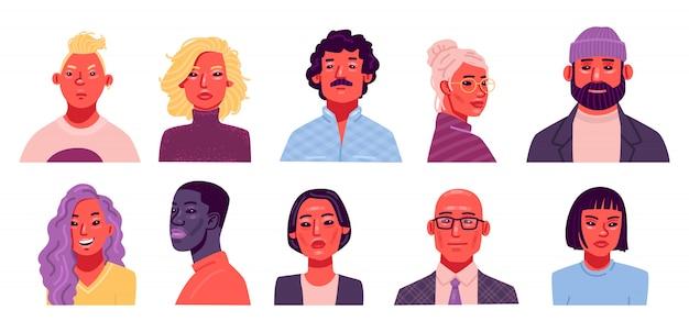人のアバターのセットです。国籍や年齢の異なる男性と女性のポートレートのコレクション。フラットスタイルのベクトル図 Premiumベクター