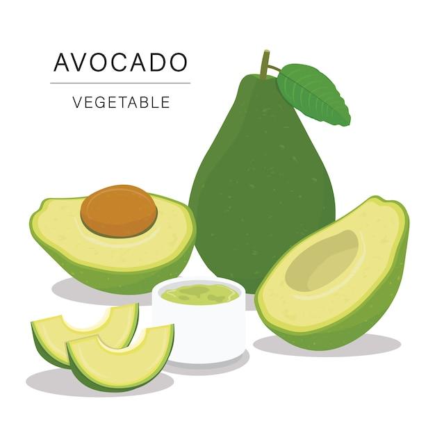 Набор ломтиков авокадо. Premium векторы