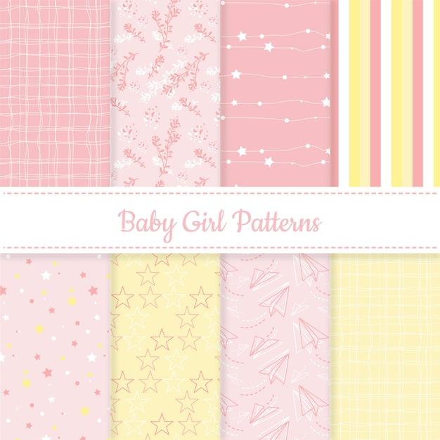 女の赤ちゃんのピンクと黄色の編集可能なパターンのセット 無料ベクター