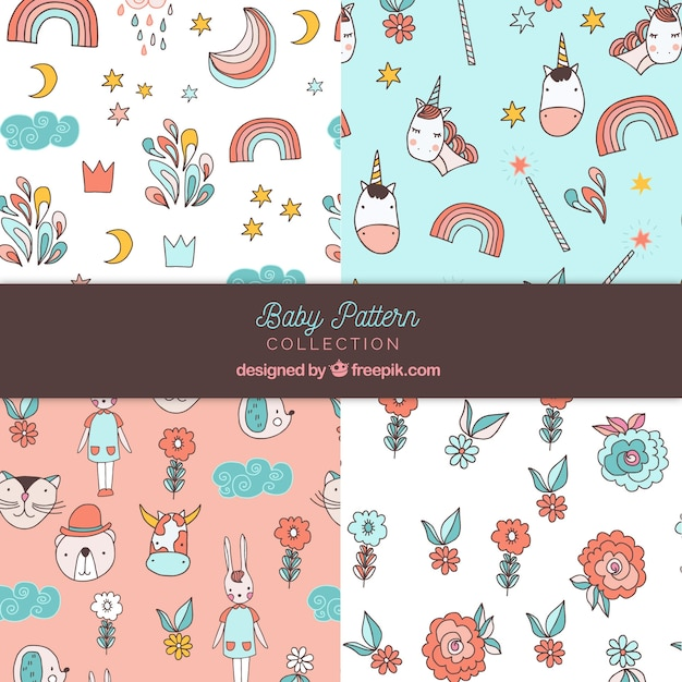 Set of baby patterns in hand drawn style Free Vector