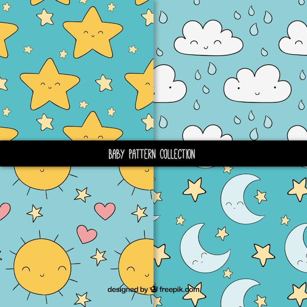 Set of baby patterns with cute elements Free Vector