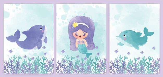 Набор открыток для душа ребенка и поздравительных открыток с русалкой и дельфинами. Premium векторы