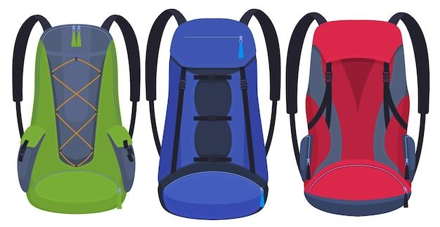 ハイキング用のバックパックのセット、バックパックのさまざまな形や色。 Premiumベクター