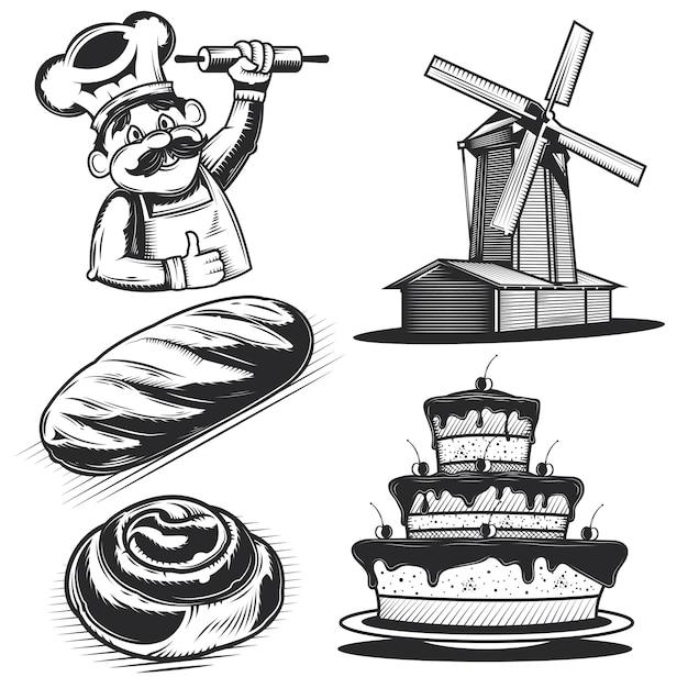 Набор хлебобулочных изделий и элементов Бесплатные векторы