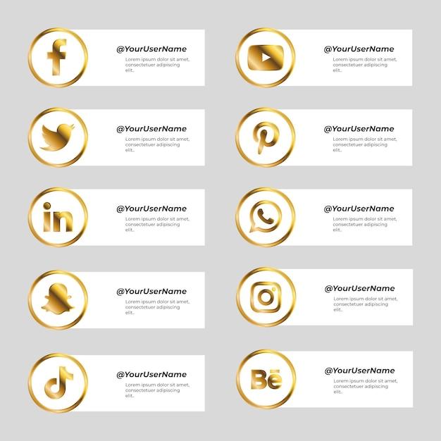 Набор баннеров для социальных сетей с золотыми иконками Бесплатные векторы
