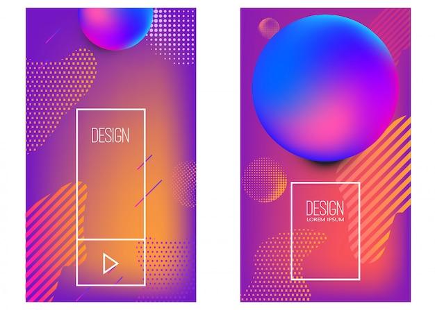 抽象的な活気に満ちたグラデーション形状のバナーテンプレートのセット。ポスター、カード、チラシ、プレゼンテーション、パンフレット、カバーの要素。画像 Premiumベクター