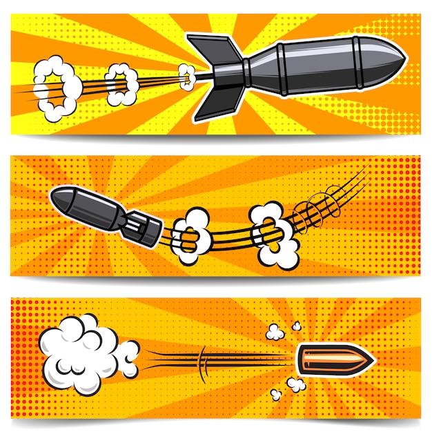 만화 스타일 폭탄, 총알 배너 템플릿 집합입니다. 포스터, 카드, 전단지 요소입니다. 영상 프리미엄 벡터