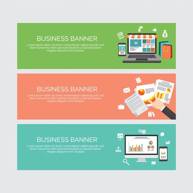 Set of banner with business elements