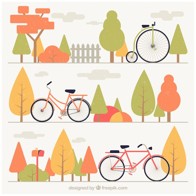 Set of banners bicycles and trees