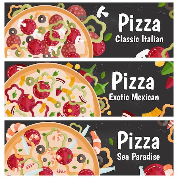 Набор баннеров для темы пиццы с разными вкусами плоский дизайн на доске Premium векторы