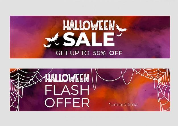 Набор баннеров хэллоуин продажи в акварели Бесплатные векторы