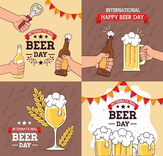 Набор баннеров, международного дня пива, август праздник с украшением Premium векторы
