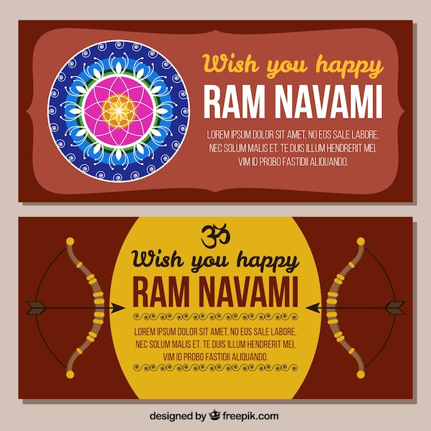 Set of banners rama navami