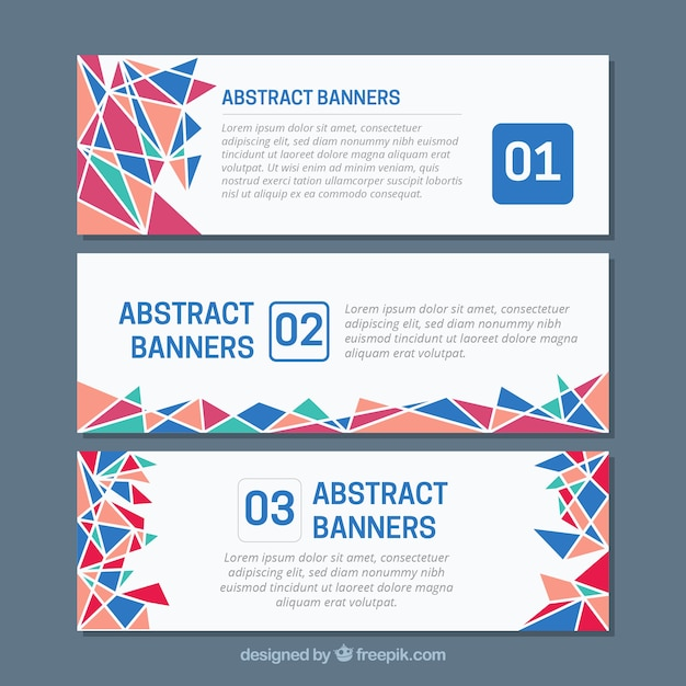 Set of banners with abstract shapes of colors