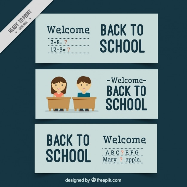 Set of banners with blue background for back to school