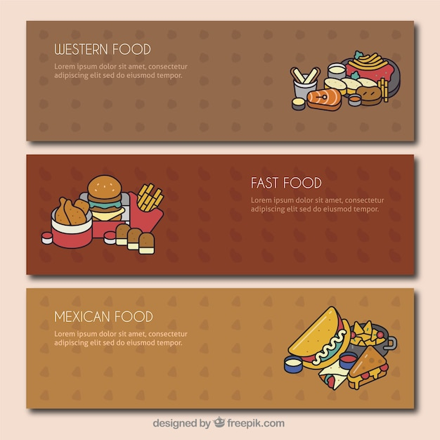set of banners with different types of meals vector free download