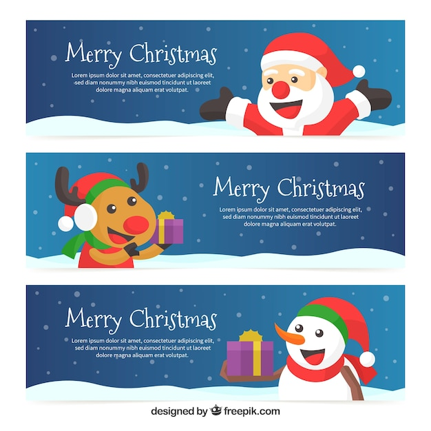 Set of banners with funny christmas characters