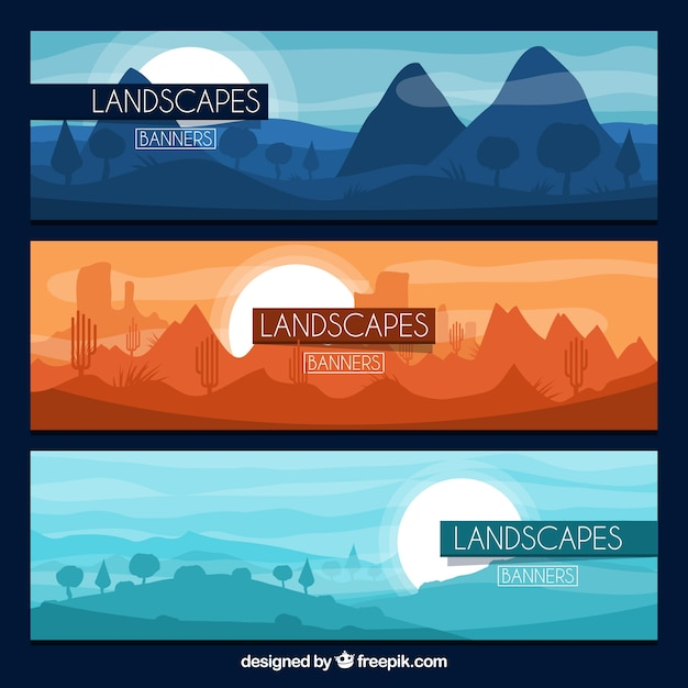 Set of banners with mountains Free Vector