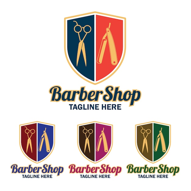 Set of barber shop logo with text space for your slogan