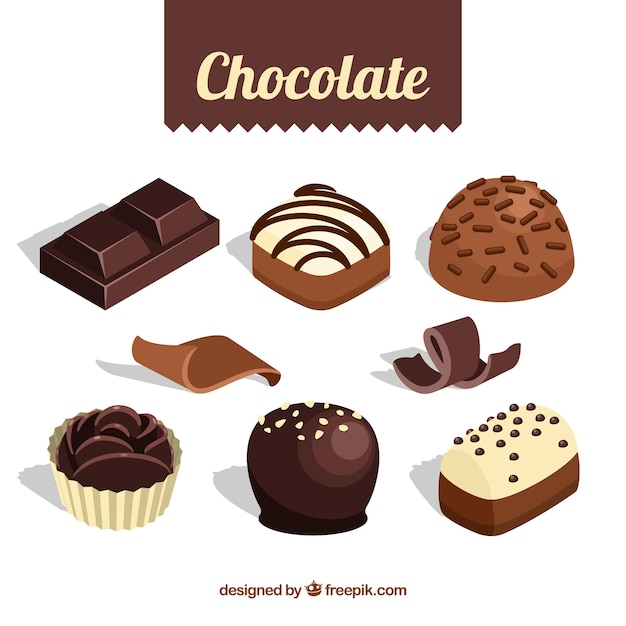 Set of bars and pieces of delicious chocolate Free Vector