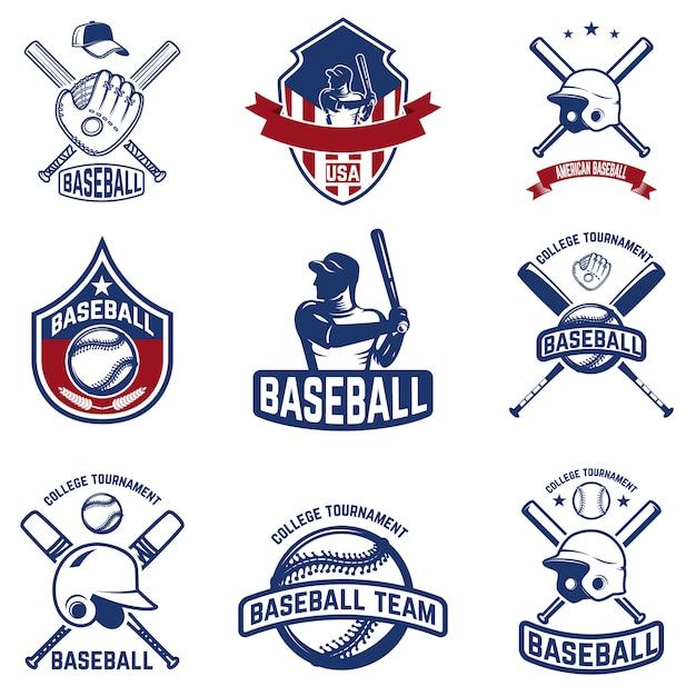 Набор бейсбольных эмблем. бейсбольный турнир. элементы для логотипа, этикетки, эмблемы, знака. иллюстрация Premium векторы