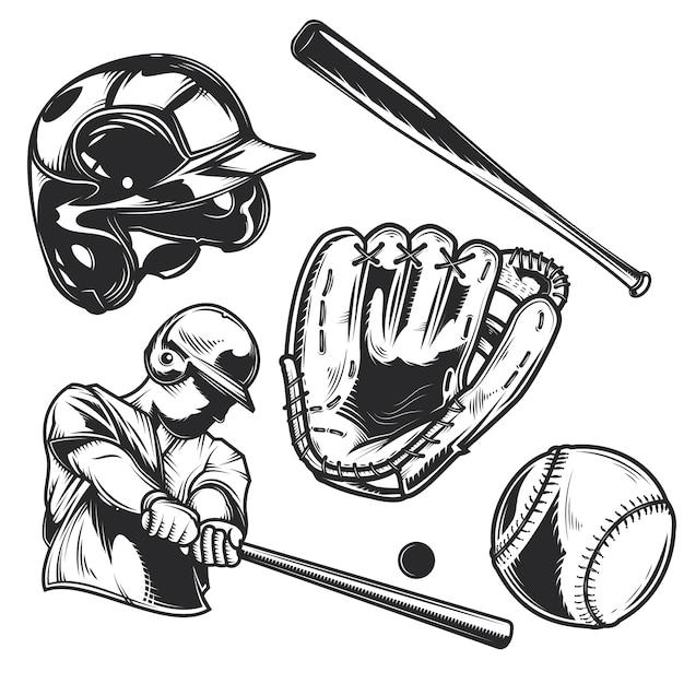 野球用具一式 無料ベクター