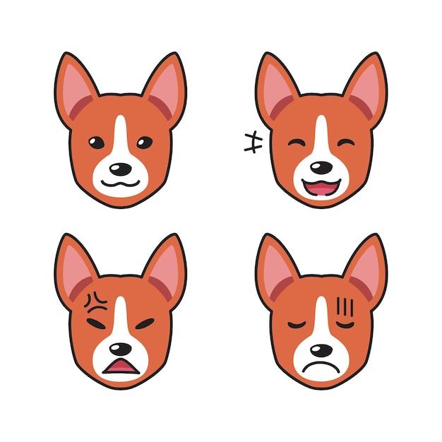 Набор собак басенджи сталкивается с разными эмоциями Premium векторы