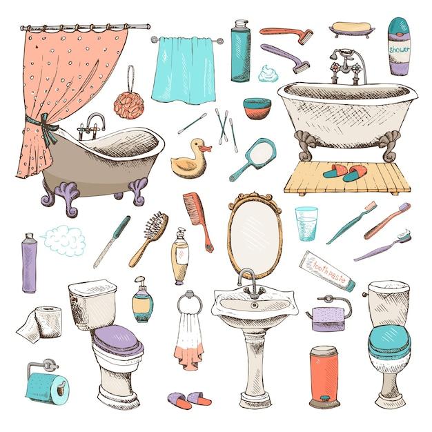 Набор иконок для ванной и личной гигиены Бесплатные векторы
