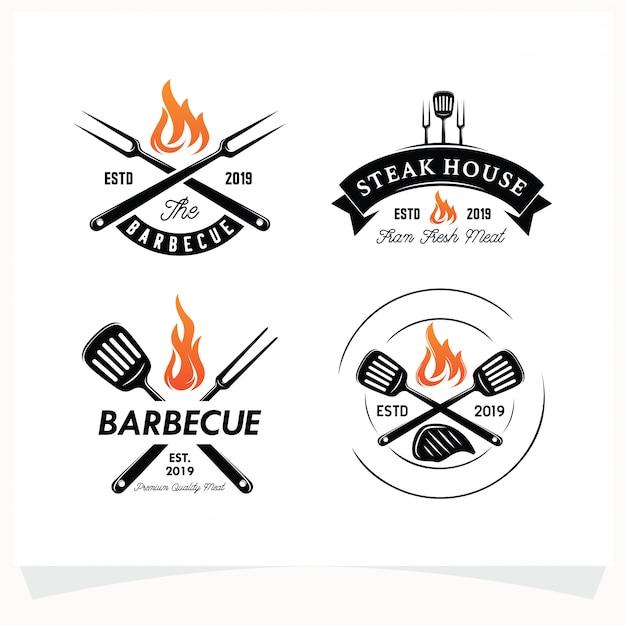 Набор для барбекю стейк гриль хаус логотип Premium векторы