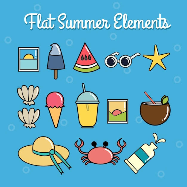 Set Of Beach Objects In Linear Style Vector